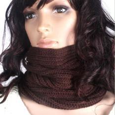BUY IN COINS Baru Wanita Hangat Knit Leher Lingkaran Wol Campuran Kerudung Snood Syal Selendang Panjang (Brown)
