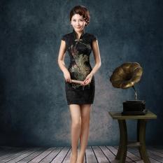 BUY IN COINS Vintage Tradisional Perempuan Cina Satin Lengan Bang Pendek Gaun Cheongsam Qipao Langsing