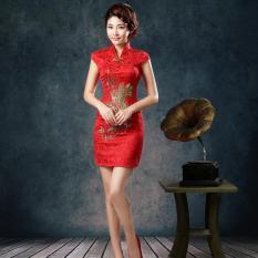 BUY IN COINS Vintage Tradisional Perempuan Cina Satin Lengan Bang Pendek Gaun Cheongsam Qipao Langsing-Internasional