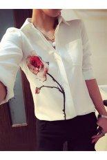 Harga Buytra Kelepak Kerah Blus Wanita Pencetakan Longgar Bermotif Bunga Putih Termahal