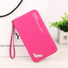 Beli Byt Pidanlu Lady S Lovely Gaya Korea Faux Leather Long Wanita Kulit Cell Phone Case Dompet Wristlets Hand Bag N1311 Rose Intl Murah Tiongkok