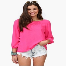C121 Hot SaleLady Cut Out Back Evening Top T-Shirts Vests Blouse with Bow Tie Rose - intl