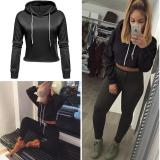 Jual C1S Drawstring Hooded Pullover Fleece Crop Hoodie Sweatshirt Black Chic1Stop Ori