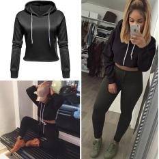 Perbandingan Harga C1S Drawstring Hooded Pullover Fleece Crop Hoodie Sweatshirt Black Chic1Stop Di Tiongkok