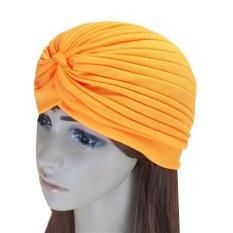C338 Hairband Topi Bandana Bungkus Rambut Rontok Kemo Solid Fancy Indian Headkerchief Warna Orange1