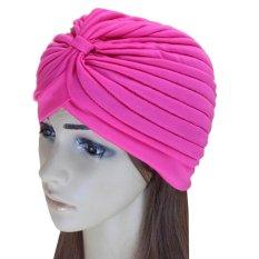 C338 Hairband Topi Bandana Bungkus Rambut Rontok Kemo Solid Fancy Indian Headkerchief Warna Rose