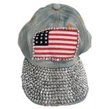 Cahaya Biru Vintage Pola Bendera Amerika Rhinestoned Denim Bisbol Cap Sun Topi Untuk Wanita China Promo Beli 1 Gratis 1