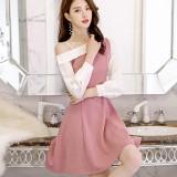 Toko Jual Caidaifei Korea Fashion Style Musim Semi Dan Musim Panas Baru Slim Kasual Gaun Akar Teratai Warna Pati