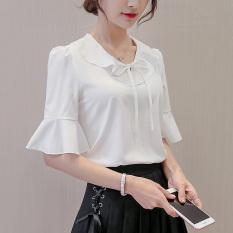 Caidaifei Baju Dalaman Korea Modis Gaya Musim Panas Kemeja Jersey Rayon Warna Polos Perempuan (Putih)