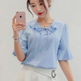 Spesifikasi Diana Choi Korea Slim Yard Besar Lengan Pendek Kemeja Bottoming Kemeja Langit Biru