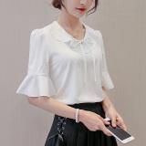 Jual Caidaifei Korea Fashion Style Slim Yard Besar Lengan Pendek Kemeja Bottoming Kemeja Putih Putih Lengkap