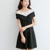 Jual Caidaifei Korea Fashion Style Terlihat Langsing Lengan Pendek Slim Bawahan Gaun Hitam Satu Set