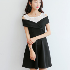 Review Caidaifei Korea Fashion Style Terlihat Langsing Lengan Pendek Slim Bawahan Gaun Hitam