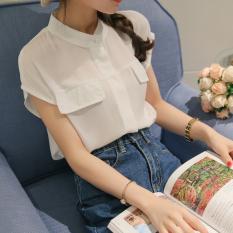 Jual Caidaifei Korea Fashion Style Warna Solid Musim Semi Dan Musim Panas Baru Atasan Kemeja Sifon Putih Original