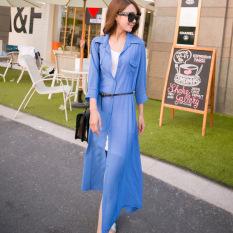 Spesifikasi Caidaifei Korea Fashion Style Warna Solid Musim Semi Dan Musim Panas Baru Mantel Tipis Baju Pelindung Terik Matahari Biru Tua Online