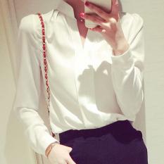 Beli Calan Diana Kemeja Wanita Elegan Bahan Sifon Lengan Panjang Warna Putih Merah Muda Putih Kredit Tiongkok
