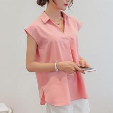 Caidaifei Korea Fashion Style Musim Semi Dan Musim Panas Baru Slim Tanpa Lengan Kemeja Baju Dalaman Merah Muda Terbaru