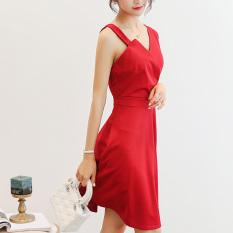 Caidaifei Korea Fashion Style Slim ukuran besar tanpa lengan rok bottoming liar (Anggur merah) (Anggur merah)