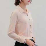 Toko Calan Diana Kemeja Wanita Pas Badan Bahan Sifon Lengan Panjang Banyak Warna Merah Muda Tiongkok