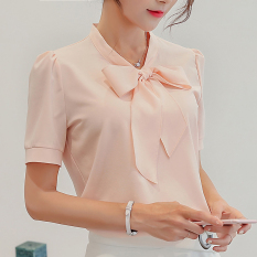 Toko Jual Caidaifei Korea Fashion Style Warna Solid Musim Semi Dan Musim Panas Baru Lengan Pendek Kemeja Bottoming Kemeja Merah Muda Merah Muda Baju Wanita Baju Atasan Kemeja Wanita Blouse Wanita