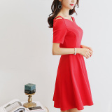 Jual Caidaifei Versatile Solid Plus Sized Slimming Casual Dress Merah Baru