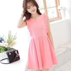 Caidaifei Manis Leher Bulat Flounced Tanpa Lengan Rok Pendek Merajut Gaun (Merah muda) (Merah muda) baju wanita dress wanita Gaun wanita