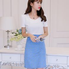 Harga Caidaifei Rajutan Musim Semi Dan Musim Panas Baru Ukuran Besar Korea Fashion Style Lengan Pendek Gaun Biru Dan Putih Kotak Asli