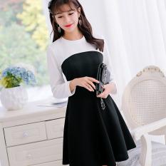 Harga Caidaifei Rajutan Musim Semi Dan Musim Panas Baru Ukuran Besar Korea Fashion Style Lengan Panjang Gaun Hitam Origin