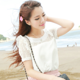 Spesifikasi Caidaifei Rumah Korea Perempuan Kemeja Renda Kemeja Putih Lengan Pendek Yang Bagus