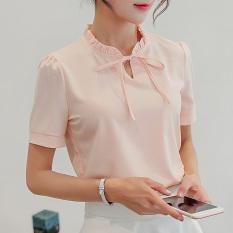 Toko Calan Diana Kemeja Wanita Fashion Bahan Sifon Lengan Pendek Panjang Banyak Warna Merah Muda Lengan Pendek Murah Di Tiongkok