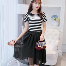 Beli Caidaifei Terlihat Langsing Bergaris Rok Dalaman Korea Fashion Style Lengan Pendek Gaun Hitam Dan Putih Bergaris Baju Wanita Dress Wanita Gaun Wanita Tiongkok