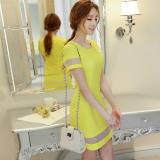 Beli Calan Diana Gaun Terusan Wanita Pas Badan Pendek Gabungan Fesyen Versi Korea Kuning Cerah Murah