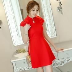 Harga Caidaifei Korea Fashion Style Musim Semi Dan Musim Panas Baru Slim Gaun Bottoming Rok Merah Merah Oem Online