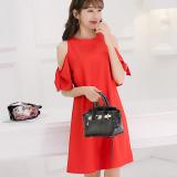 Toko Caidaifei Korea Fashion Style Musim Semi Dan Musim Panas Baru Terlihat Langsing Sifon Gaun Gaun Merah Termurah