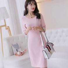 Caidaifei Korean Style Slim Fit Slimming Base Skirt Half Sleeve Shirt Knit Dress Merah Muda Oem Diskon 30