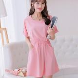 Toko Caidaifei Korea Fashion Style Warna Solid Musim Semi Dan Musim Panas Baru Gaun Merah Muda Lengkap Di Tiongkok