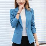 Jual Caidaifei Korea Fashion Style Warna Solid Slim Lengan Panjang Jaket Wanita Setelan Formal Danau Biru Rrr93 Di Tiongkok