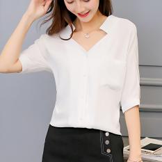 Promo Caidaifei Korea Fashion Style Warna Solid Musim Semi Dan Musim Panas Baru Sifon Kemeja Putih Putih Putih Oem