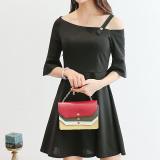 Beli Caidaifei Korea Fashion Style Warna Solid Musim Semi Dan Musim Panas Baru Kasual Gaun Hitam Seken