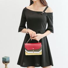 Beli Caidaifei Korea Fashion Style Warna Solid Musim Semi Dan Musim Panas Baru Kasual Gaun Hitam Yang Bagus