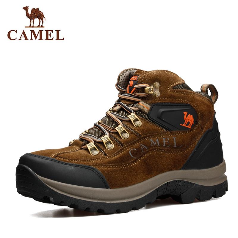 Camel Tinggi Atas Kulit Sapi Mounting Waterproof Hiking Sepatu Pria ... 83805acf08