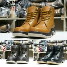 Camel Boot Kulit Safety / Sepatu Boots Kulit / Grosir Sepatu