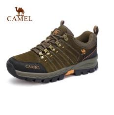 Unta Pria Anti-penyaradan Rendah Dipotong Renda-up Hiking Shoes (Hijau)-