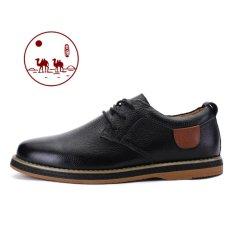 Promo Unta Pria Kulit Asli Sepatu Datar Yang Populer Laceing Kulit Sepatu Bisnis Lace Up Sepatu Datar Hitam Intl Camel Terbaru
