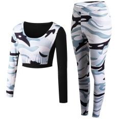 Camo Sport Kebugaran Tight Sexy Sport Suit 2 Pcs Patchwork Yoga Set Girls Belly Shirt Setelan Celana Joging untuk Wanita (putih) -Intl