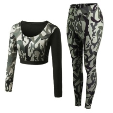 Camo Sport Kebugaran Tight Sexy Sport Suit 2 Pcs Patchwork Yoga Set Girls Belly Shirt Setelan Celana Joging untuk Wanita (Tentara Hijau) -Intl