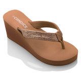 Jual Beli Candice Wedge Glitter Sandals Camel Gold Di Indonesia