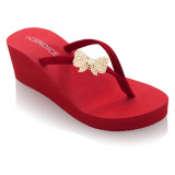 Candice Wedge Sandal Clips Rhinestone Bow Red Candice Diskon
