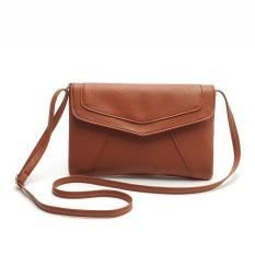 Candy Amplop Berwarna Sederhana dan Elegan Halus Panjang Span Single Shoulder Bag-Brown