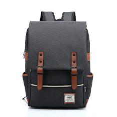 Harga Termurah Tas Sekolah Ransel Kanvas Rucksack Backpack For Unisex Remaja Hitam International